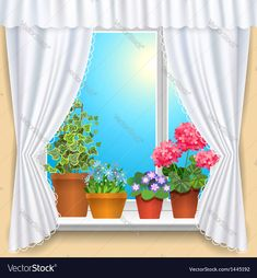 Flowers window vs Royalty Free Vector Image - VectorStock , #AFFILIATE, #Royalty, #window, #Flowers, #Free #AD