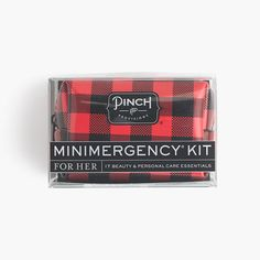 Pinch Provisions® for J.Crew Minimergency® kit. Includes Hair spray, clear nail polish, nail polish remover, emery board, lip balm, earring backs, clear elastics, mending kit, double-sided tape, stain remover, deodorant towelette, pain reliever, tampon, breath freshener, dental floss, safety pin, adhesive bandage.