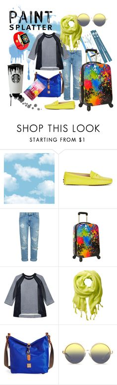 """Paint Splatter On The Road"" by capricat ❤ liked on Polyvore featuring Tod's, Current/Elliott, Traveler's Choice, Antipodium, Love Quotes Scarves, Dooney & Bourke, Matthew Williamson, Band of Outsiders and paintsplatter"