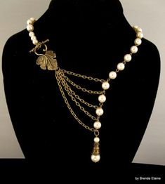 Necklace with Pearls and a Leaf in Antique Brass | byBrendaElaine - Jewelry on ArtFire