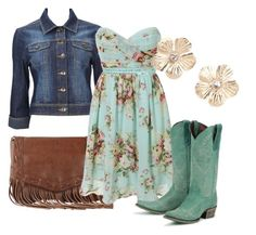 """""""Southern Belle"""" by jmattice ❤ liked on Polyvore featuring Springa, Wallis, Charlotte Russe, fringe, cowboy boots and denim"""