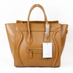 8344a5a3c0 Celine Luggage Boston Bag Satchel Shopper Apricot Smooth