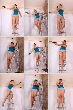 Gun Pose Reference Gun Poses 1 by Tasastock Action Pose Reference, Human Poses Reference, Pose Reference Photo, Female Reference, Action Poses, Figure Drawing Reference, Hand Reference, Art Poses, Drawing Poses