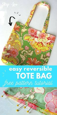 Here is a simple tote bag pattern that will show how to make a super cute tote. The best part it is reversible! #sewing Drawstring Bag Diy, Reversible Tote Bag, Quilted Tote Bags, Patchwork Bags, Easy Tote Bag Pattern Free, Tote Pattern, Wallet Pattern, Kids Tote Bag, Best Tote Bags