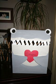 Valentine's Day Box, Shark Style, to hold the valentine's day cards at school