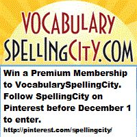 Enter to win a Premium Membership to VocabularySpellingCity! Simply follow SpellingCity on Pinterest to enter! http://www.spellingcity.com