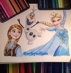 Drawing of Disney's Frozen by @Art By William.  Follow him on Instagram. Frozen Drawings, Vampier Diaries, Prismacolor, Disney Frozen, Colored Pencils, Princess Zelda, Instagram Posts, Fictional Characters, Art