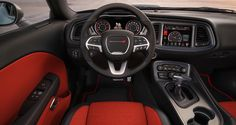 The new heritage-inspired 2015 Challenger 392 HEMI® Scat Pack SHAKER features a driver-centric interior that is finely crafted and loaded with technology. Dodge Challenger Interior, 2018 Dodge Challenger, My Dream Car, Dream Cars, New Dodge, Best Gas Mileage, Srt Hellcat, Chrysler Jeep, American Muscle Cars