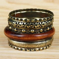 Wood Brass Bronze Filigree Fashion Jewelry Cuff Bracelet Bangle Set B | eBay 8