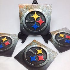 Set of Four Pittsburg Steelers Tile Coasters. by TheCoasterAttic, $15.00