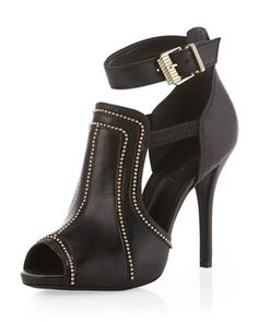 Ankle-Strap Beaded Cutout Bootie, Black by Schutz at Neiman Marcus Last Call.