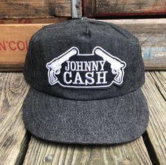 JOHNNY CASH Vintage Black Denim Snapback Trucker Hat  29509add3369