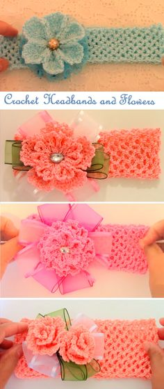 I so have to make a few of these for my granddaughter for school... to keep those stray hair from hanging over her head at the end of the day, even if they can only wear navy to school. A girl has to have something pretty in navy colours as well. - Crochet Headbands with Beautiful Flowers