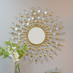 House of Hampton Framlingham Round Sunburst Frame Mirror Sun Mirror, Mirror Wall Art, Round Wall Mirror, Round Mirrors, Unique Mirrors, Mirror Glass, Starburst Mirror, Sunburst Wall Decor, Circular Mirror