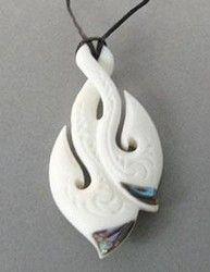 Maori Bone Double Hook Pendant with Paua Shell - Maori bone hook pendant, bone double hook ... - Shopenzed.com