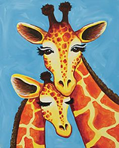 """""""Giraffe Family"""" Social Artworking canvas painting design - -Giraffes are such gentle and mysterious creatures! Gather your friends for a safari-themed painting party and have even more fun by sharing some giraffe-related trivia. Did you know a giraffe's hooves are 12"""" long? Did you know that they hum to each other, but only at night? CANVAS SIZE:  16"""" x 20"""" TIME TO PAINT:  approximately 2 hours 30 minutes"""