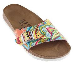 8e49297c82d Birki s Indian Paisley Print Single Band Sandals - QVC.com Paisley Art