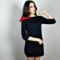 THE PARIS Bow-Shoulder LBD Mini Feel European in this adorable little black dress with red bow detail on the shoulder.           Ask me about discounted shipping options!           IG: @rockstarqueenboutique Boutique Dresses Mini