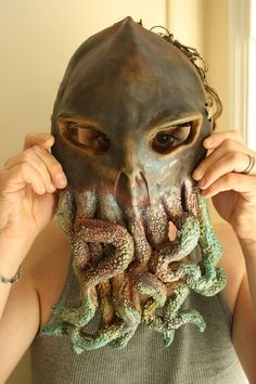 Cthulhu Monster Raku fired ceramic mask