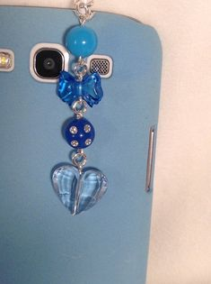 Light Blue Heart cell phone charm iphone charm by PmBSparklesLinks, $6.50