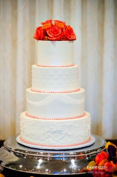 Traditional Wedding Cake with a Pop of Color