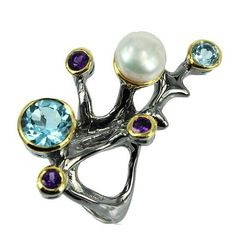 #handmade #925 #sterling #silver #designer #ring with #blue #Topaz, #Amethyst and #freshwater #pearl Check the price on Etsy, find the link at profile.  #gold#elegant #elegance #luxurious#luxury #lady#jewelry #jewellery#highjewelry #highjewellery #finejewellery#finejewelry