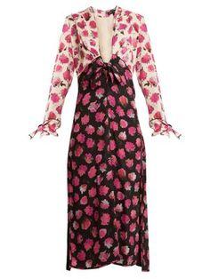 Floral-print V-neck silk-crepe midi dress | Proenza Schouler | MATCHESFASHION.COM US