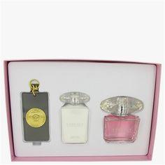 Bright Crystal Perfume by Versace Gift Set: 3 oz Eau De Toilette Spray + 3.4 oz Body Lotion + Gold Versace Key Chain.