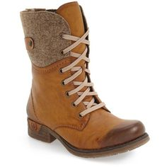 Women's Rieker Antistress 'Fee 04' Lace-Up Boot ($140) ❤ liked on Polyvore featuring shoes, boots, brown faux leather, brown faux leather boots, laced boots, laced up boots, vintage style lace up boots and brown shoes