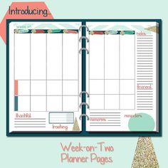 Week on two pages planner set.  Gold and Navy with coral and aqua colors... glitter embellishments! Perfect for Half Size or A5 Planners such as Arc, Filofax, and more