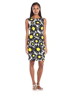 Ronni Nicole Womens Daisy Print Sheath Dress WhiteBlackYellow 10 ** Click image for more details.(This is an Amazon affiliate link and I receive a commission for the sales)