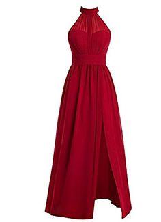 1d8ca8f1339c3 Botong Blue Halter Neck Bridesmaid Dress Long Chiffon Evening Prom Dress  Blue US2