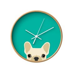 For French Bulldog lovers—and all dog lovers alike—this wall clock is a must! Featuring a high-impact plexiglass crystal face and a backside hook for easy hanging, this cute modern clock will surely ad...  Find the Frenchie Wall Clock, as seen in the A Southern California Dream Office Collection at http://dotandbo.com/collections/a-southern-california-dream-office?utm_source=pinterest&utm_medium=organic&db_sku=103293