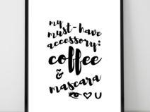 Plakat A3- kawa i maskara_czarny