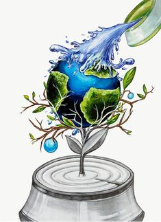 Environment Painting, World Environment Day Posters, Save Water Poster Drawing, Save Earth Drawing, Earth Drawings, Surreal Artwork, Painting Competition, Nature Posters, Kunst Poster