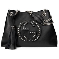Gucci Soho Chain-Strap Studded Leather Shoulder Bag (7,750 ILS) ❤ liked on Polyvore featuring bags, handbags, shoulder bags, black, leather purse, black shoulder bag, gucci purses, black studded handbag and black studded purse