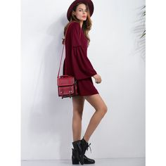 SheIn(sheinside) Burgundy V Neck Bell Sleeve Tunic Dress (960 INR) ❤ liked on Polyvore featuring dresses