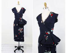 Navy Blue and Red Poppies Dress