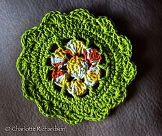 Water Lily Dishcloth ~ free crochet pattern