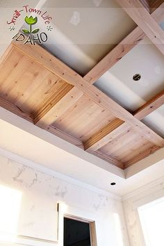Remodelaholic | DIY Master Bedroom Wood Coffered Ceiling