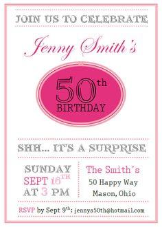 50th Birthday Invitation. $10.00, via Etsy.