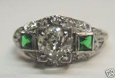 Antique Diamond Engagement Ring Platinum Art Deco Wedding Vintage Estate Bridal