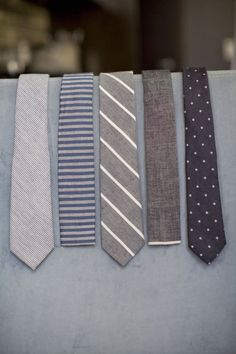 Different ties for each of the groomsmen with subtle matching.