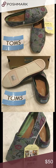 NIB TOMS Classic Abstract Chambray Slip On TOMS Classic slip-on updated in a bright scribble print, a versatile chambray slip-on is finished with elastic goring for a custom fit.  Removable cushioned insole.  Textile upper and lining/synthetic sole. TOMS Shoes