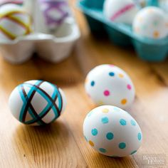 Skip the white crayons and messy dye this egg-decorating season and give tissue paper a try: http://www.bhg.com/holidays/easter/eggs/pretty-no-dye-easter-eggs/?socsrc=bhgpin032715tissuepaperpolkadoteggs&page=2