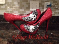Red heel with Skull design handpainted and glittered by Glitter Me Badd
