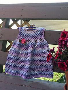 Ravelry: Simple Granny Stitch Dress pattern by Olga Poltava Crochet Toddler Dress, Crochet Baby Dress Pattern, Crochet Baby Cardigan, Baby Dress Patterns, Baby Girl Crochet, Crochet Baby Clothes, Stitch Doll, Ravelry Crochet, Crochet Granny