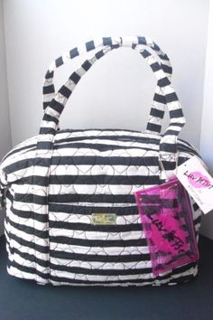 Betsey-Johnson-Large-Travel-Weekender-Bag-Quilted-Black-White-Hearts-Stripes