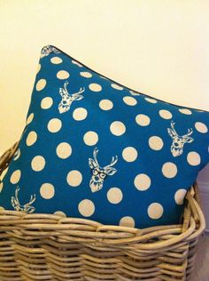 Blue Stag with Glasses cushion