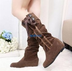 Womens Sweet Casual Lace Up Low Heel Faux Suede Slip On Med Calf Boots Shoes